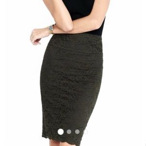 NWT Express Dark Green Lace Pencil Skirt